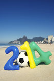 Colorful 2014 Message with Soccer Ball Football Rio Beach Brazil Stock Photography