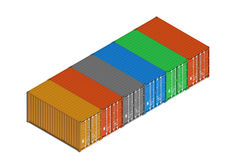 Colorful metal freight shipping containers in line on white Stock Image