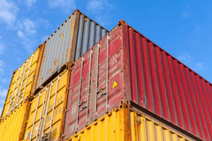 Colorful metal Industrial cargo containers are stacked Royalty Free Stock Photos