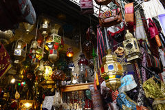 Colorful Metal Lamps, Arabic Handicraft, Tunis Medina Royalty Free Stock Photography