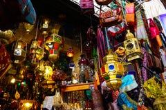 Colorful Metal Lamps, Arabic Handicraft, Tunis Medina Royalty Free Stock Photo
