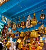 Colorful Metal Lamps, Arabic Handicraft, Tunis Medina Royalty Free Stock Image