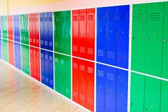 Colorful metal lockers Stock Photo