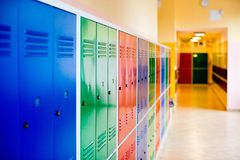 Colorful metal lockers Royalty Free Stock Photos