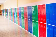 Colorful metal lockers Royalty Free Stock Photo