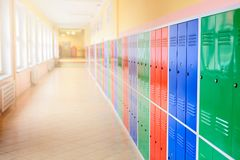 Colorful metal lockers Royalty Free Stock Images