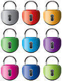 Colorful metal padlocks Stock Image