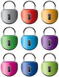 Colorful metal padlocks. Vector set of colorful metal padlocks Stock Image