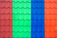 Colorful metal sheet roof stock photos