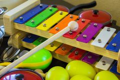 Xylophone toy for teaching kids the first musical notes Royalty Free Stock Photos