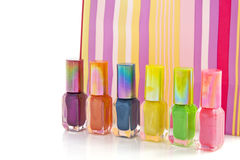 Colorful metalic nailpolish Stock Images