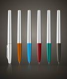 Colorful metallic ball pens Royalty Free Stock Photography