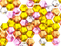 Colorful metallic hexagon abstract background. 3D rendering colorful metallic hexagon abstract background Royalty Free Stock Photography