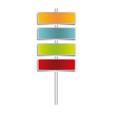 colorful metallic plaque sign post set Stock Image
