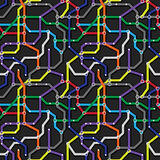 Colorful metro scheme background. Abstract seamless vector patte Royalty Free Stock Images