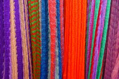 Colorful Mexican blankets for sale at market, Latin America, fabric background.  Stock Photography