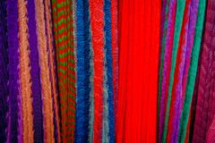 Colorful Mexican blankets for sale at market, Latin America, fabric background.  Royalty Free Stock Images