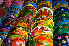 Colorful Mexican bowls for sale Royalty Free Stock Image