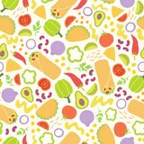 Colorful mexican burritos and vegetables. royalty free illustration