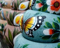 Colorful Mexican ceramic pots in Old Village Royalty Free Stock Photography