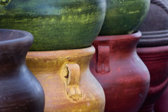 Colorful Mexican clay pottery. Stacked Royalty Free Stock Photography