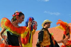 Colorful Mexican dance group at Festival Cultural Royalty Free Stock Photography