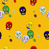 Colorful Mexican Day of the Dead Seamless Pattern Dia de Los Muertos Festival. / mexico mask Royalty Free Stock Photo