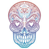 Colorful mexican decorative skull tattoo Royalty Free Stock Photos