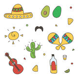 Colorful Mexican doodle, hand-drawn set  on white background Royalty Free Stock Photography