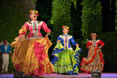 Colorful Mexican female dancers Stock Image