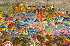 Colorful Mexican pottery art stock photos