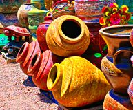 Colorful Mexican Pottery Shop in the Southwest. A shop in the southwest imports colorful and creative pottery directly from Mexico royalty free stock images