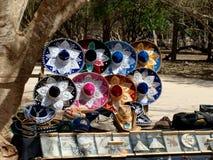 Colorful mexican sombreros shop. In Riviera Maya royalty free stock image