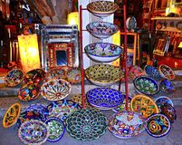 Colorful mexican washbasins. Colorful examples of mexican handicraft Stock Photography
