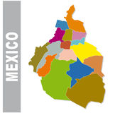 Colorful Mexico administrative and political map Stock Image