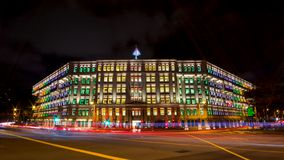 The colorful MICA building, Singapore with over 900 rainbow colored windows royalty free stock photos