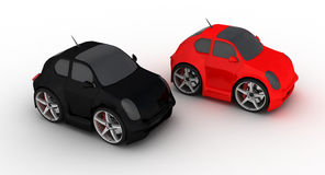 Colorful micro cars. 3d illustration of red and black micro cars; isolated on white background Stock Photo