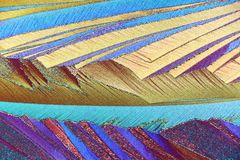 Colorful micro crystals in polarized light royalty free stock image