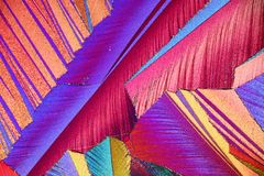 Colorful micro crystals in polarized light stock photography