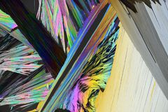 Colorful micro crystals in polarized light stock image