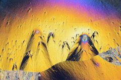Colorful micro crystals in polarized light Royalty Free Stock Photo