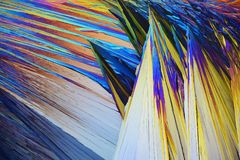 Colorful micro crystals in polarized light stock images
