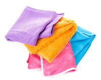 Colorful microfiber cloths. Isolated on a white background Stock Photos