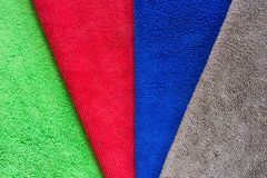 Colorful microfiber fabric for dust removal and cleaning wax on car or absorb water after car wash for dry.  Royalty Free Stock Image