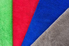 Colorful microfiber fabric for dust removal and cleaning wax on car or absorb water after car wash for dry.  stock images