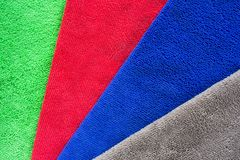 Colorful microfiber fabric for dust removal and cleaning wax on car or absorb water after car wash for dry.  stock photo