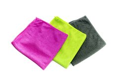 The colorful microfibre towels royalty free stock photography