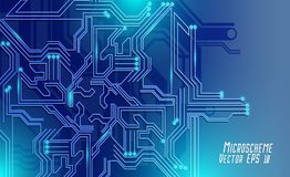 Colorful microscheme design. Vector micro chip. Micro scheme elements design. Abstract technology, IT thematic background. Circuit Board Vector Illustration stock illustration