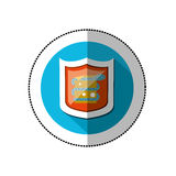 Colorful middle shadow sticker with blue circle with shield and snake virus Royalty Free Stock Photos