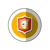Colorful middle shadow sticker with circle with shield and file skull Stock Photos